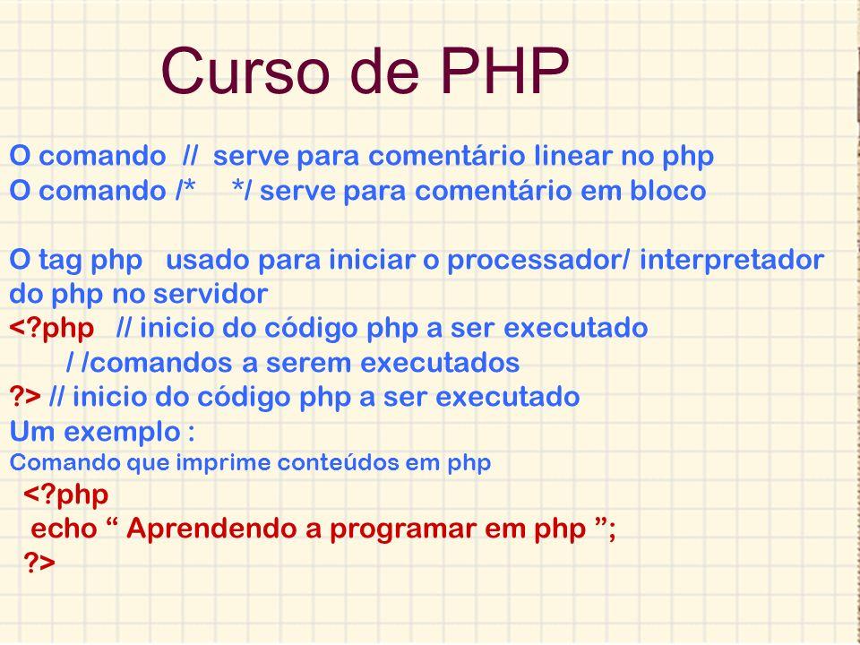 Curso de PHP Criação de Variáreis no php <?php $nm =Ana; // criando e atribuindo valor a variável ?> Imprimindo conteúdo no php Para concatenar no php usamos o ponto ou a virgula