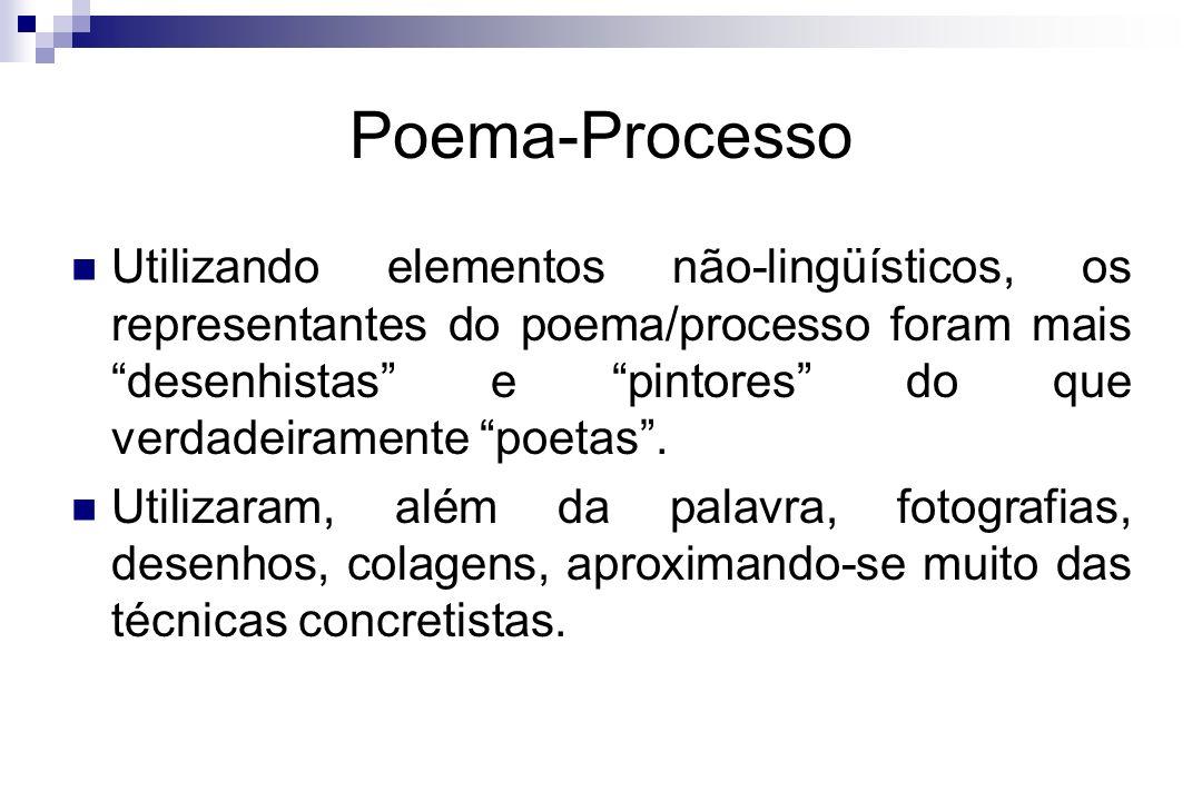 Poema-Processo Utilizando elementos não-lingüísticos, os representantes do poema/processo foram mais desenhistas e pintores do que verdadeiramente poe