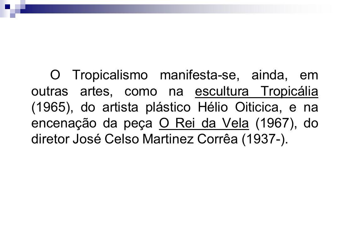 O Tropicalismo manifesta-se, ainda, em outras artes, como na escultura Tropicália (1965), do artista plástico Hélio Oiticica, e na encenação da peça O