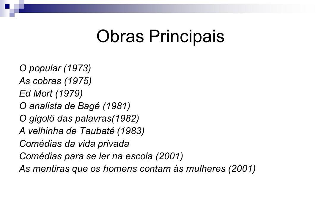 Obras Principais O popular (1973) As cobras (1975) Ed Mort (1979) O analista de Bagé (1981) O gigolô das palavras(1982) A velhinha de Taubaté (1983) C