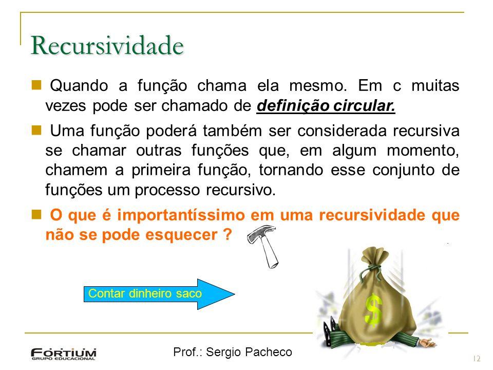 Prof.: Sergio Pacheco Recursividade 12 Quando a função chama ela mesmo.
