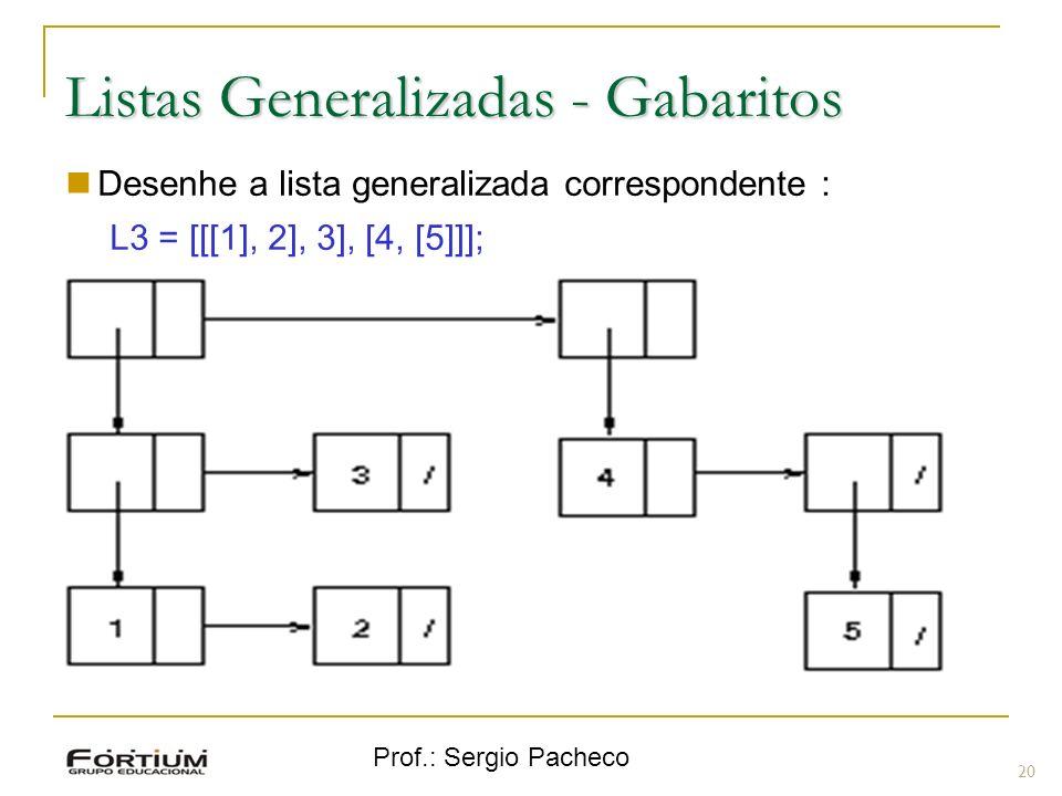 Prof.: Sergio Pacheco Listas Generalizadas - Gabaritos 20 Desenhe a lista generalizada correspondente : L3 = [[[1], 2], 3], [4, [5]]];