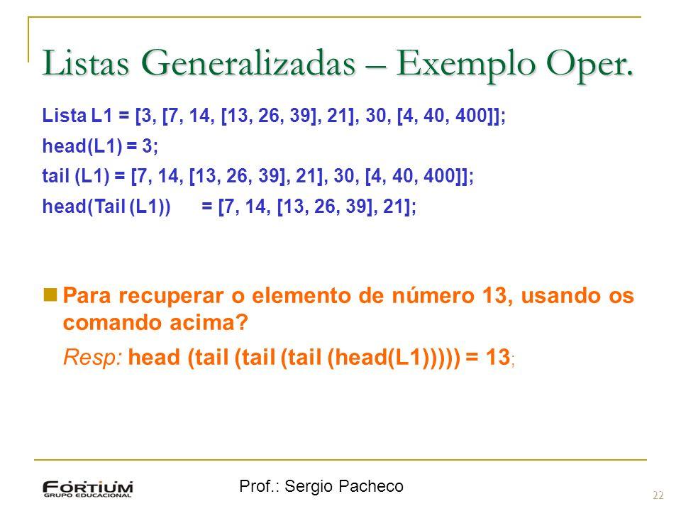 Prof.: Sergio Pacheco Listas Generalizadas – Exemplo Oper.