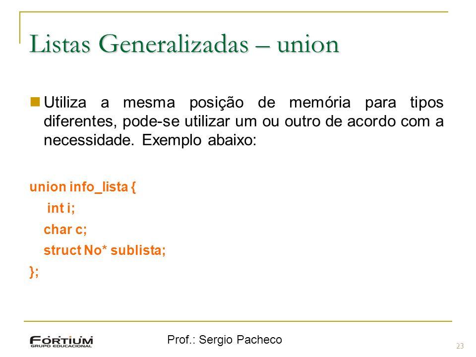 Prof.: Sergio Pacheco Listas Generalizadas – union 23 Utiliza a mesma posição de memória para tipos diferentes, pode-se utilizar um ou outro de acordo com a necessidade.