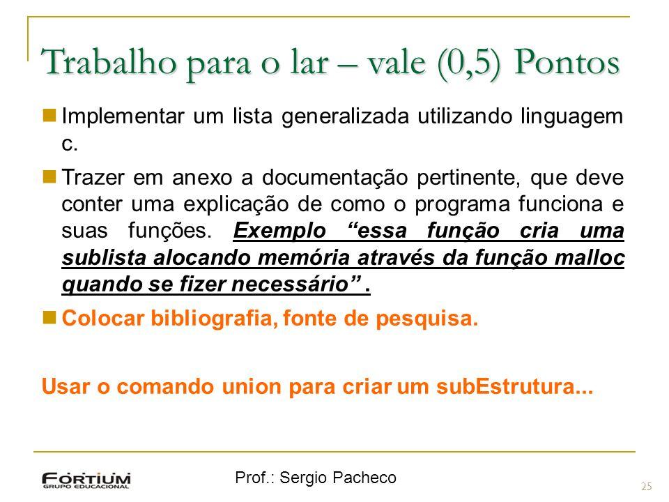 Prof.: Sergio Pacheco Trabalho para o lar – vale (0,5) Pontos 25 Implementar um lista generalizada utilizando linguagem c.
