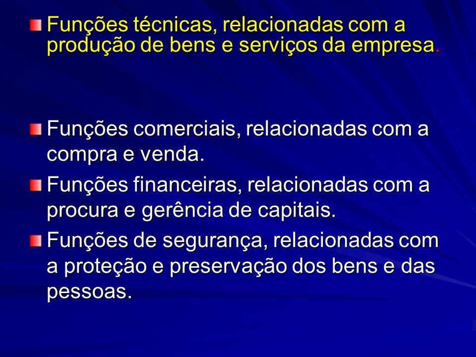 Funções técnicas, relacionadas com a produção de bens e serviços da empresa. Funções técnicas, relacionadas com a produção de bens e serviços da empre
