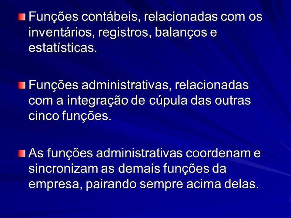 Funções contábeis, relacionadas com os inventários, registros, balanços e estatísticas. Funções administrativas, relacionadas com a integração de cúpu