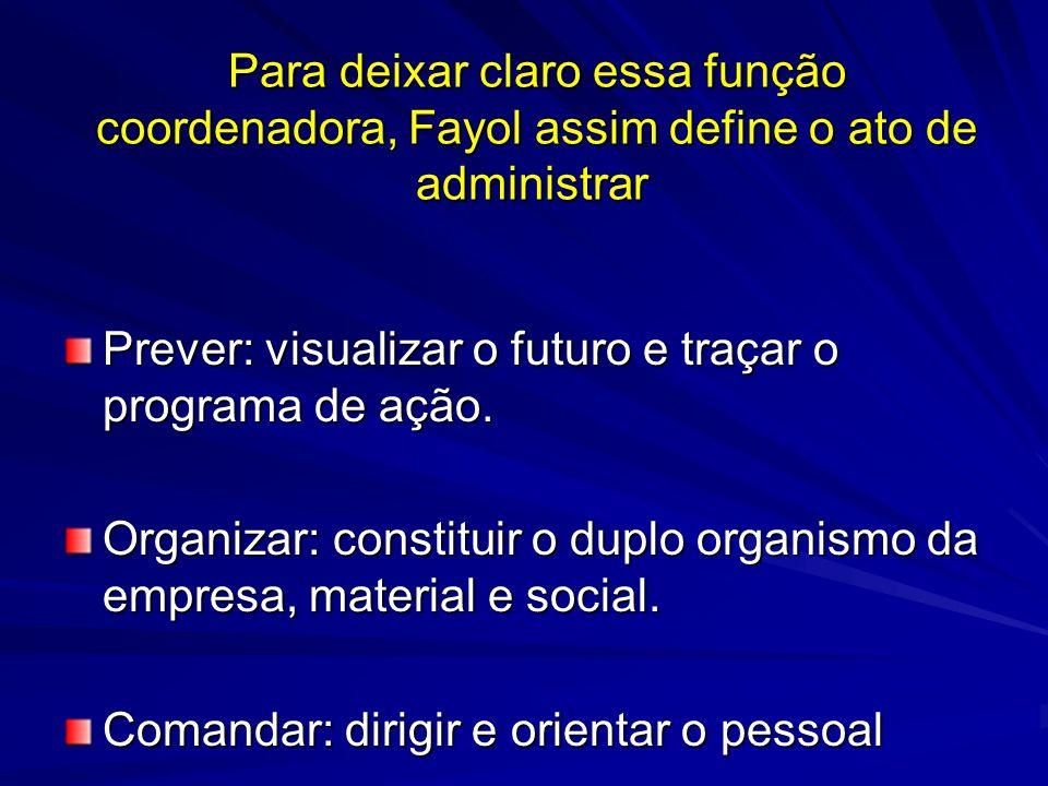 Para deixar claro essa função coordenadora, Fayol assim define o ato de administrar Para deixar claro essa função coordenadora, Fayol assim define o a