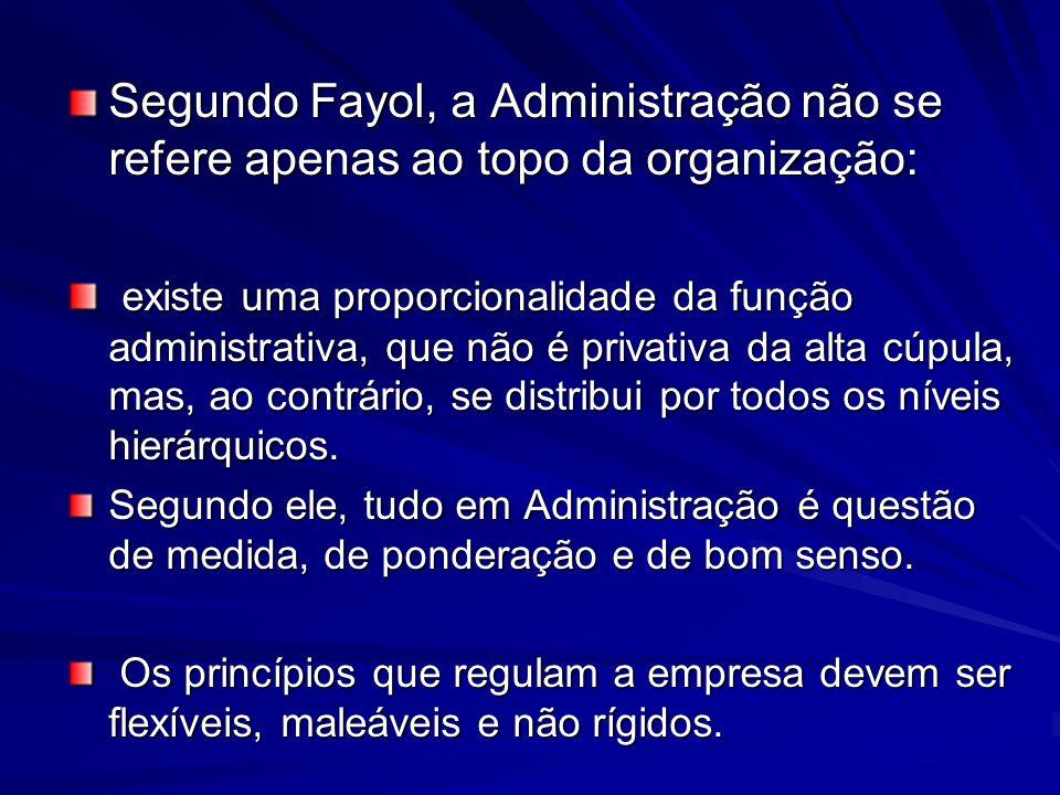 Segundo Fayol, a Administração não se refere apenas ao topo da organização: existe uma proporcionalidade da função administrativa, que não é privativa