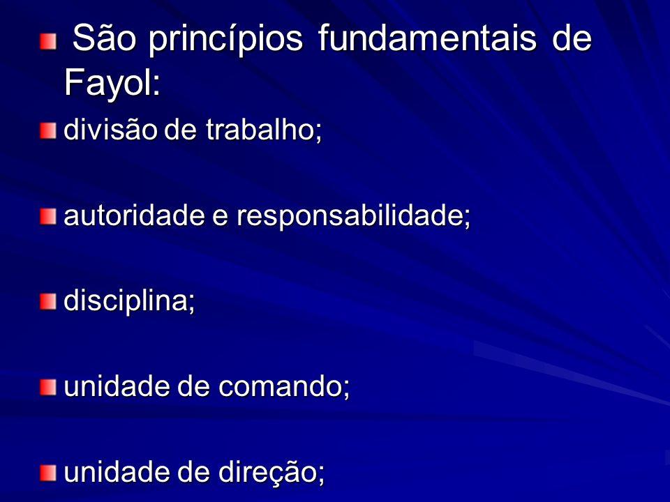 São princípios fundamentais de Fayol: São princípios fundamentais de Fayol: divisão de trabalho; autoridade e responsabilidade; disciplina; unidade de