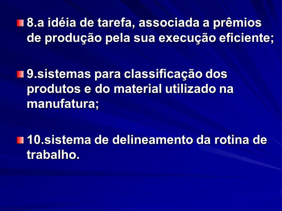 8.a idéia de tarefa, associada a prêmios de produção pela sua execução eficiente; 9.sistemas para classificação dos produtos e do material utilizado n