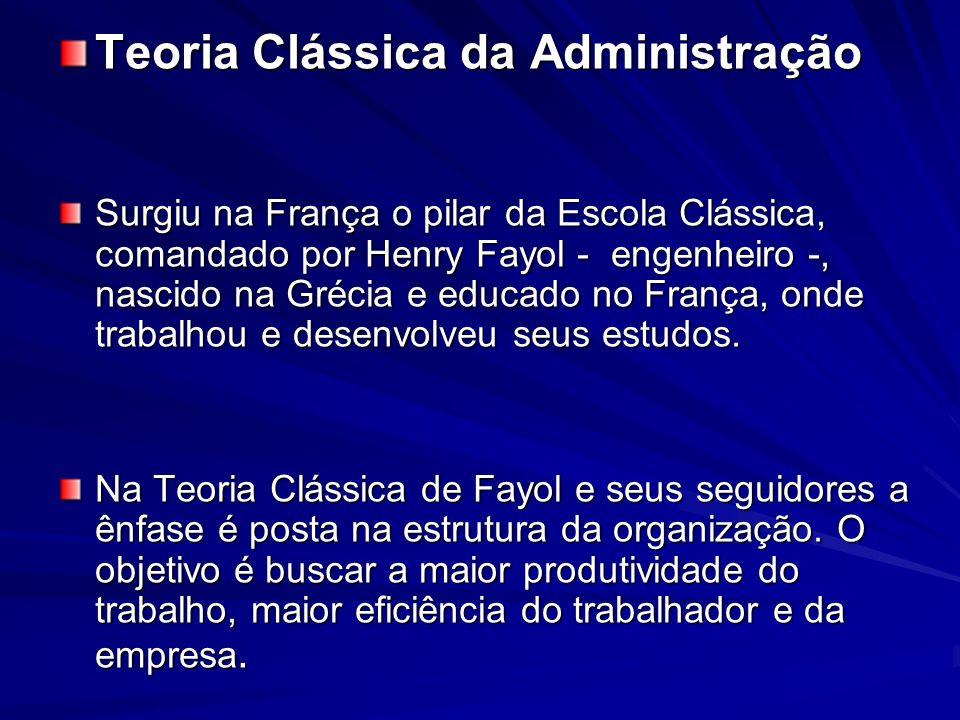 Teoria Clássica da Administração Surgiu na França o pilar da Escola Clássica, comandado por Henry Fayol - engenheiro -, nascido na Grécia e educado no