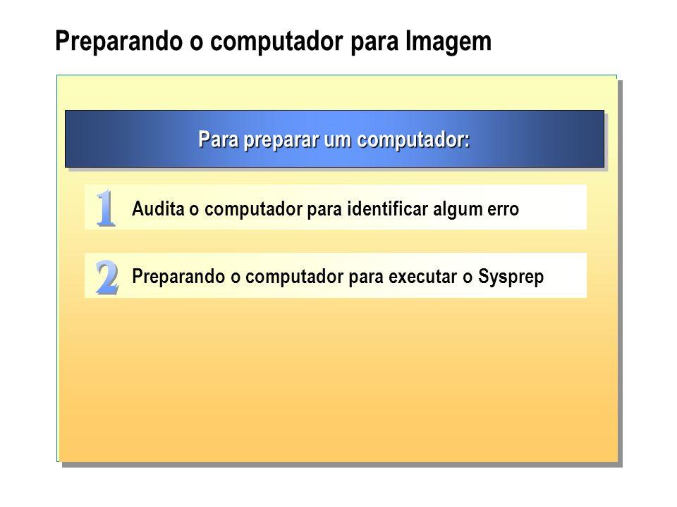 Preparando o computador para Imagem Para preparar um computador: Audita o computador para identificar algum erro Preparando o computador para executar