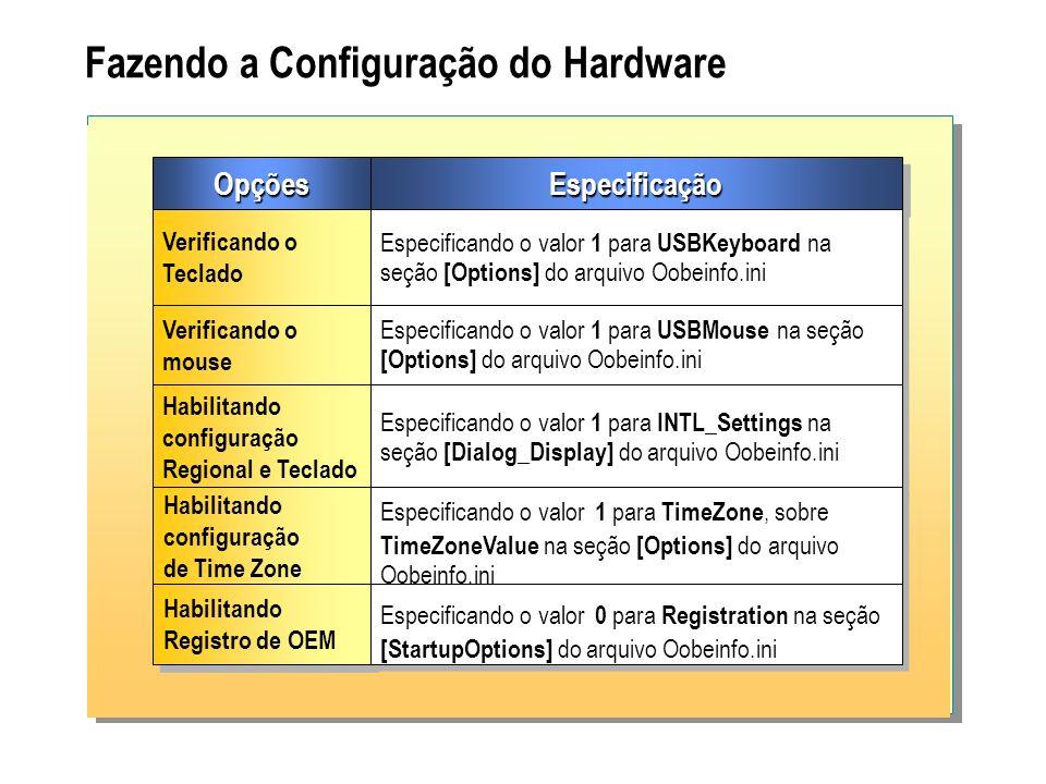 Fazendo a Configuração do Hardware OpçõesOpçõesEspecificaçãoEspecificação Verificando o Teclado Verificando o Teclado Especificando o valor 1 para USB