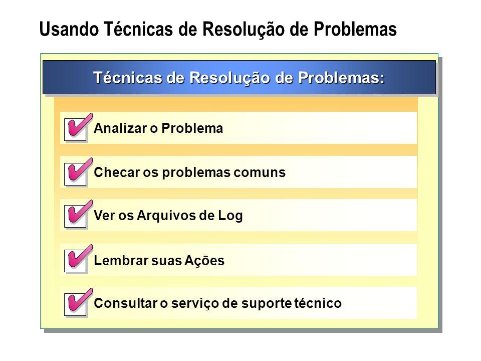 Usando Técnicas de Resolução de Problemas Técnicas de Resolução de Problemas: Analizar o Problema Checar os problemas comuns Ver os Arquivos de Log Le