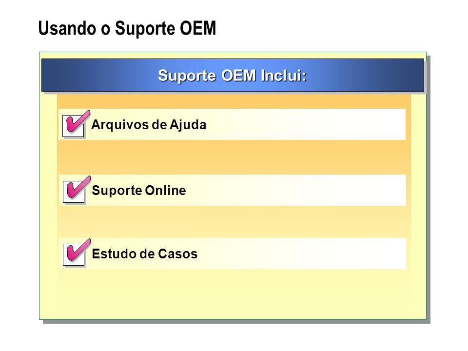 Usando o Suporte OEM Suporte OEM Inclui: Arquivos de Ajuda Suporte Online Estudo de Casos