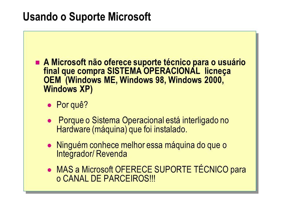 Usando o Suporte Microsoft A Microsoft não oferece suporte técnico para o usuário final que compra SISTEMA OPERACIONAL licneça OEM (Windows ME, Window