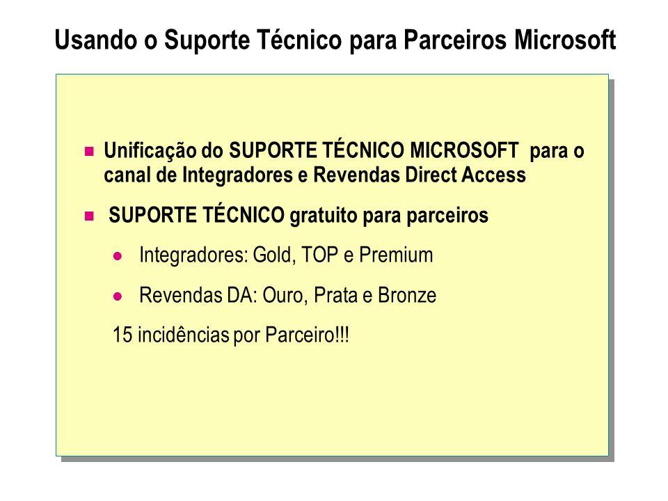 Usando o Suporte Técnico para Parceiros Microsoft Unificação do SUPORTE TÉCNICO MICROSOFT para o canal de Integradores e Revendas Direct Access SUPORT
