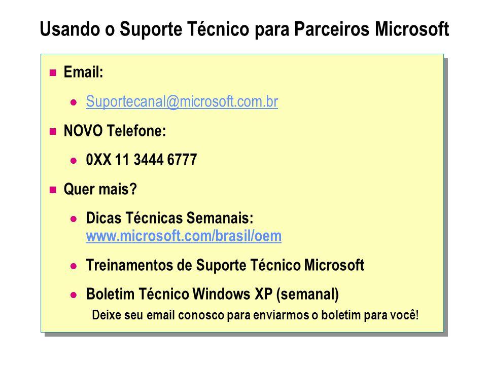 Usando o Suporte Técnico para Parceiros Microsoft Email: Suportecanal@microsoft.com.br NOVO Telefone: 0XX 11 3444 6777 Quer mais? Dicas Técnicas Seman
