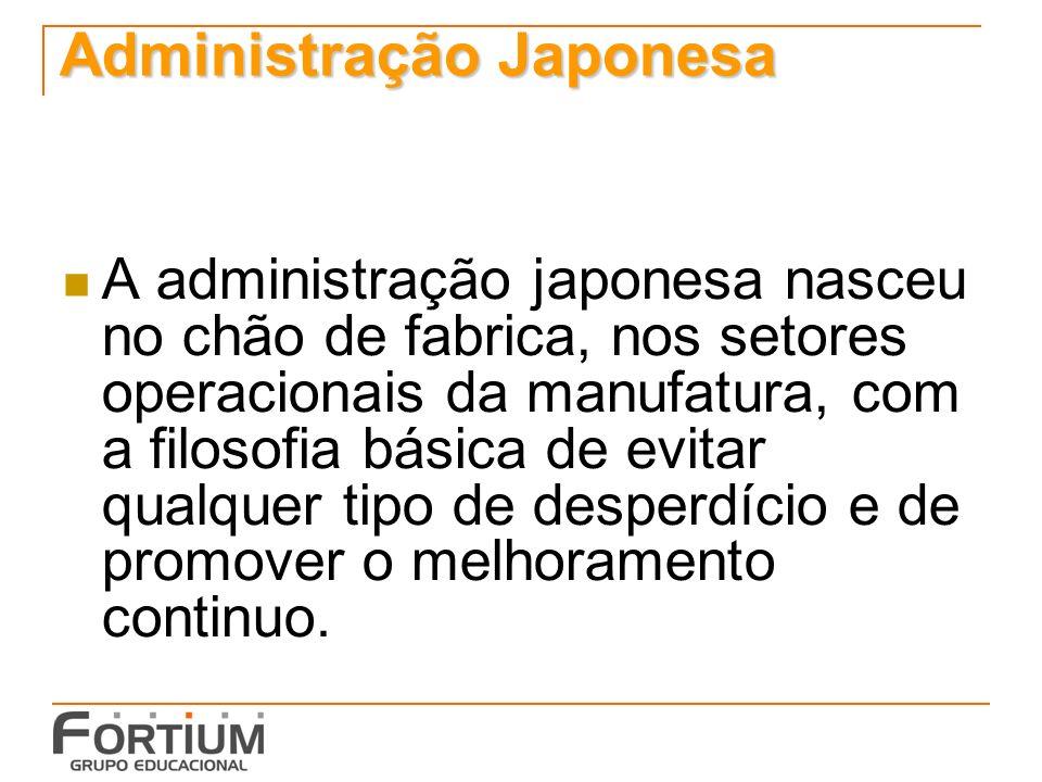 Administração Japonesa A administração japonesa nasceu no chão de fabrica, nos setores operacionais da manufatura, com a filosofia básica de evitar qu