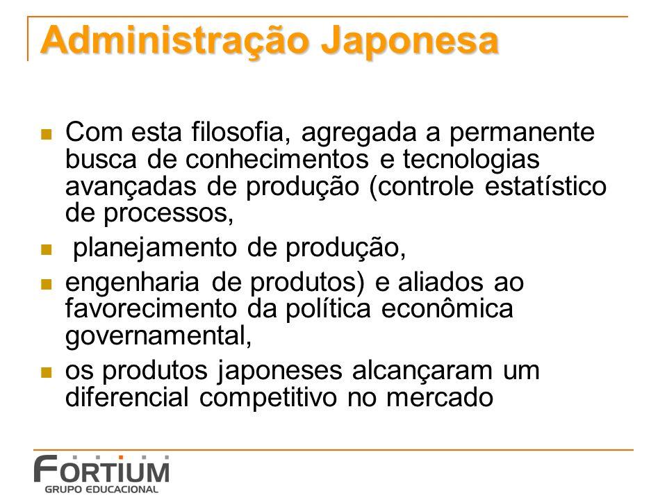 Administração Japonesa Com esta filosofia, agregada a permanente busca de conhecimentos e tecnologias avançadas de produção (controle estatístico de p