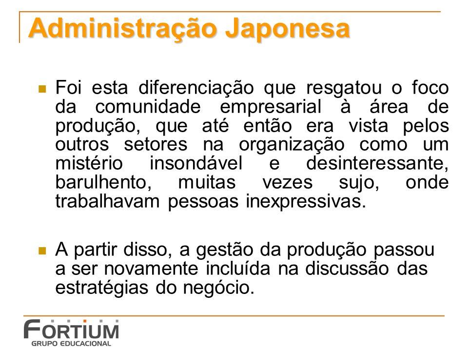 Administração Japonesa Foi esta diferenciação que resgatou o foco da comunidade empresarial à área de produção, que até então era vista pelos outros s