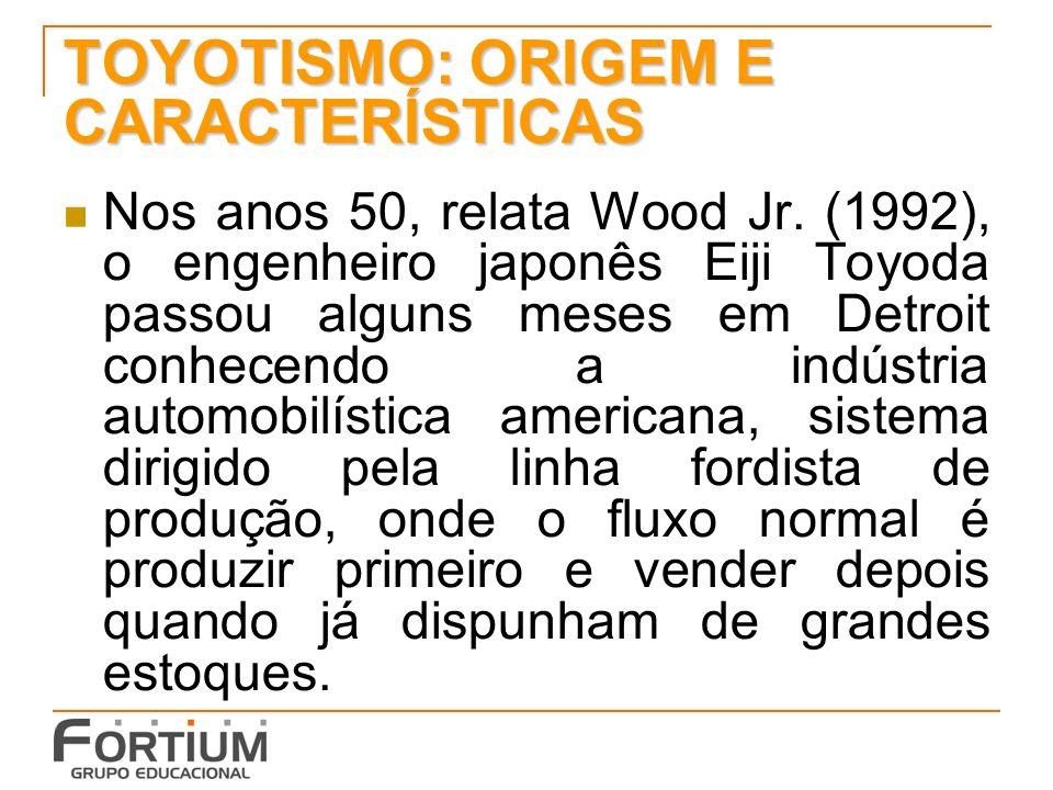 TOYOTISMO: ORIGEM E CARACTERÍSTICAS Toyoda ficou impressionado com as gigantescas fábricas, a quantidade de estoques, o tamanho dos espaços disponíveis nas fábricas e o alto número de funcionários.
