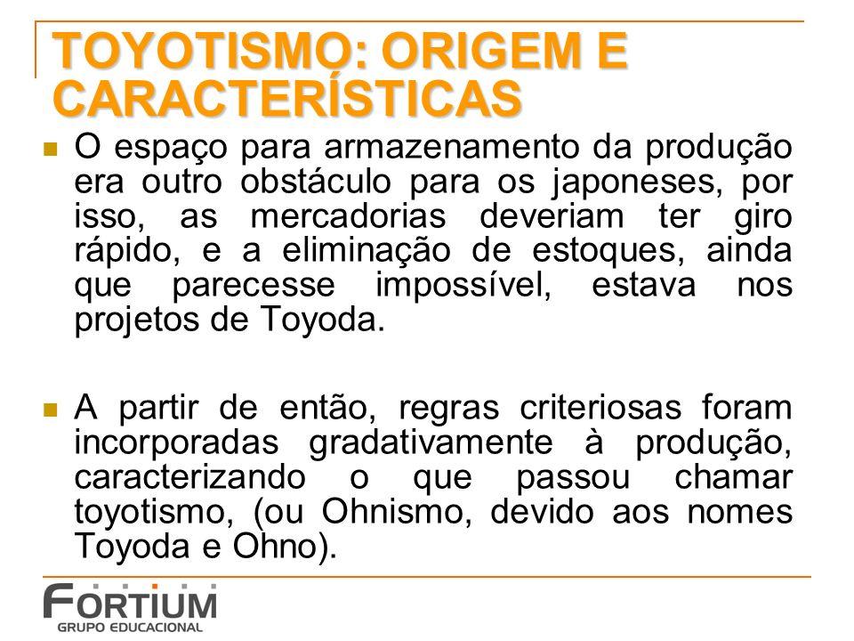 TOYOTISMO: ORIGEM E CARACTERÍSTICAS O espaço para armazenamento da produção era outro obstáculo para os japoneses, por isso, as mercadorias deveriam t