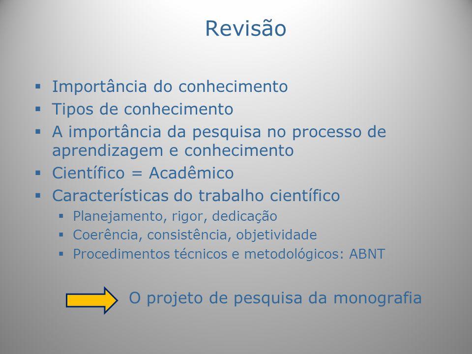 Revisão Importância do conhecimento Tipos de conhecimento A importância da pesquisa no processo de aprendizagem e conhecimento Científico = Acadêmico