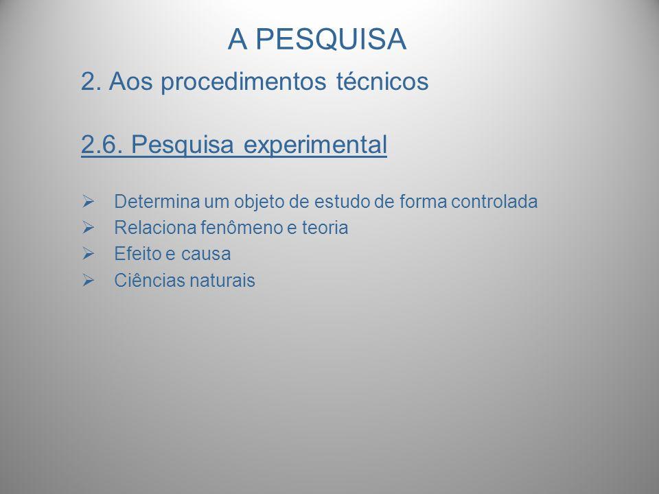 A PESQUISA 2. Aos procedimentos técnicos 2.6. Pesquisa experimental Determina um objeto de estudo de forma controlada Relaciona fenômeno e teoria Efei