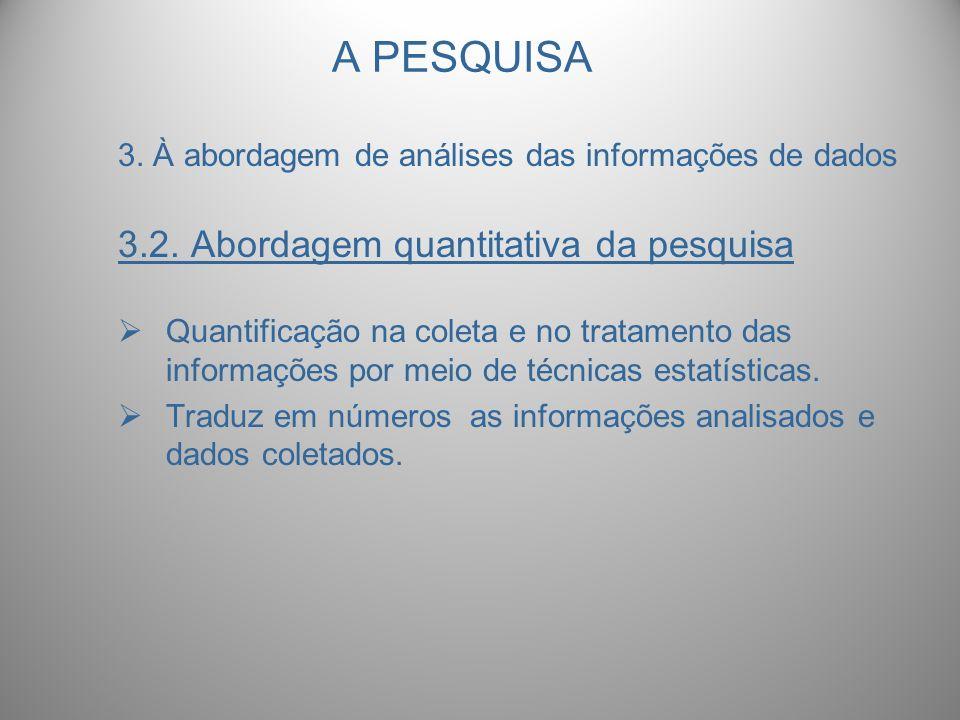 A PESQUISA 3. À abordagem de análises das informações de dados 3.2. Abordagem quantitativa da pesquisa Quantificação na coleta e no tratamento das inf