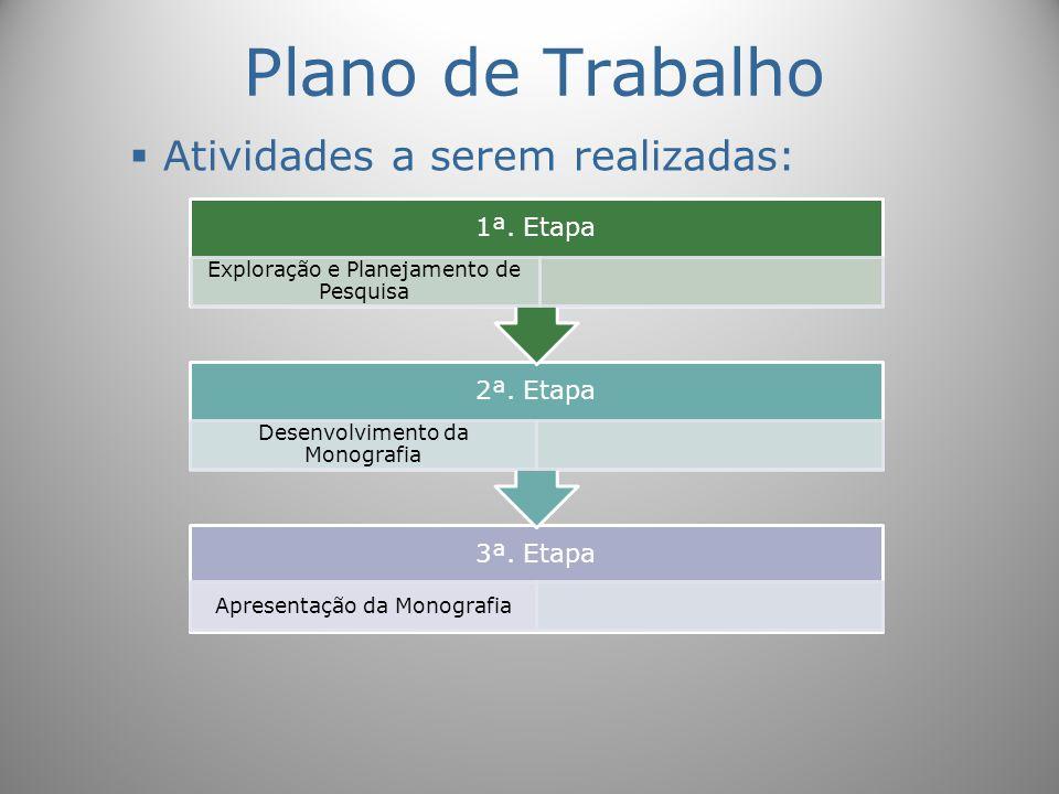 Plano de Trabalho Atividades a serem realizadas: 3ª. Etapa Apresentação da Monografia 2ª. Etapa Desenvolvimento da Monografia 1ª. Etapa Exploração e P