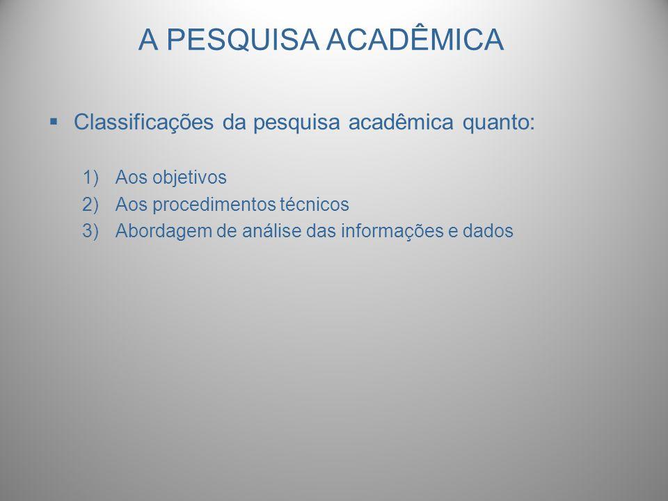 A PESQUISA ACADÊMICA Classificações da pesquisa acadêmica quanto: 1)Aos objetivos 2)Aos procedimentos técnicos 3)Abordagem de análise das informações