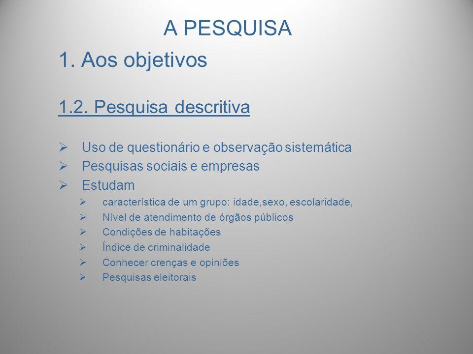 A PESQUISA 1. Aos objetivos 1.2. Pesquisa descritiva Uso de questionário e observação sistemática Pesquisas sociais e empresas Estudam característica
