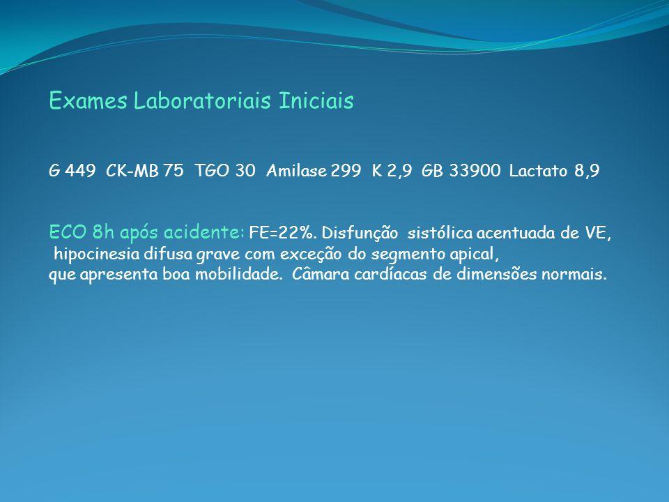Exames Laboratoriais Iniciais G 449 CK-MB 75 TGO 30 Amilase 299 K 2,9 GB 33900 Lactato 8,9 ECO 8h após acidente: FE=22%. Disfunção sistólica acentuada