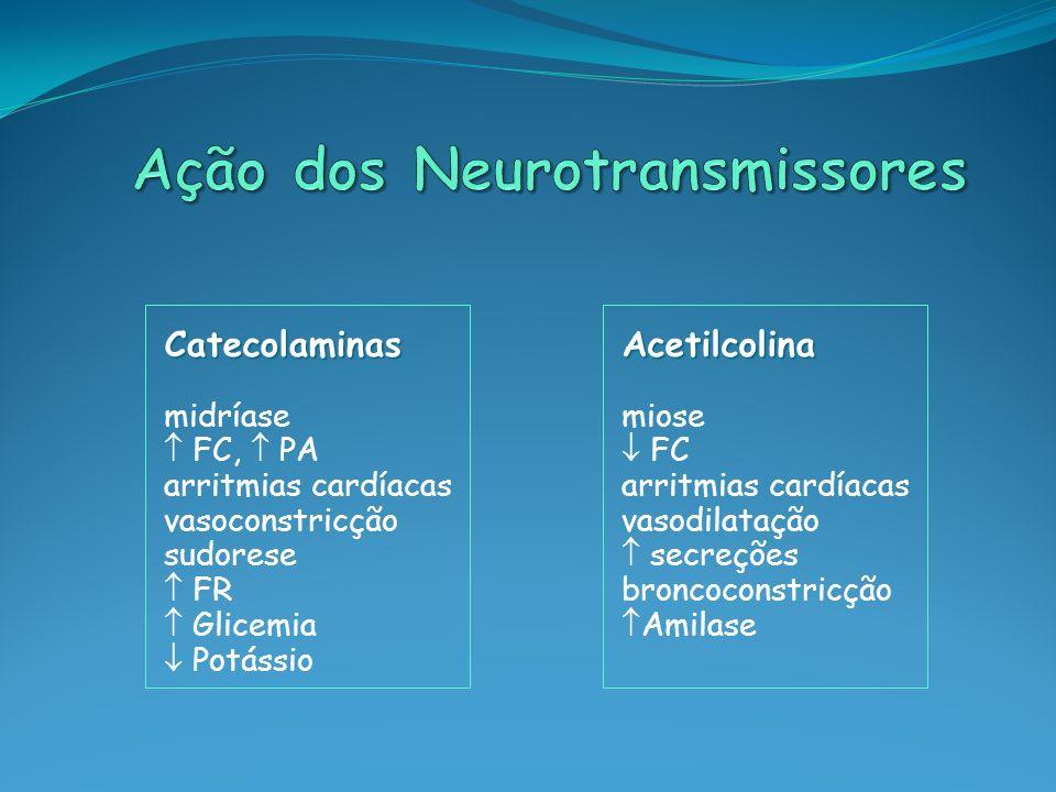 Catecolaminas midríase FC, PA arritmias cardíacas vasoconstricção sudorese FR Glicemia PotássioAcetilcolina miose FC arritmias cardíacas vasodilatação