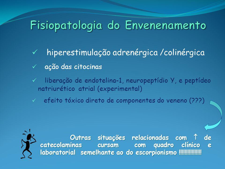 hiperestimulação adrenérgica /colinérgica ação das citocinas liberação de endotelina-1, neuropeptídio Y, e peptídeo natriurético atrial (experimental)