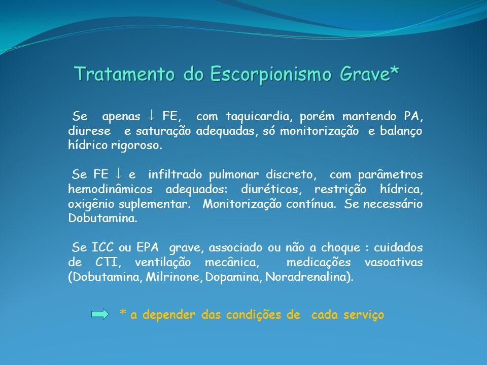 Tratamento do Escorpionismo Grave* Tratamento do Escorpionismo Grave* Se apenas FE, com taquicardia, porém mantendo PA, diurese e saturação adequadas,