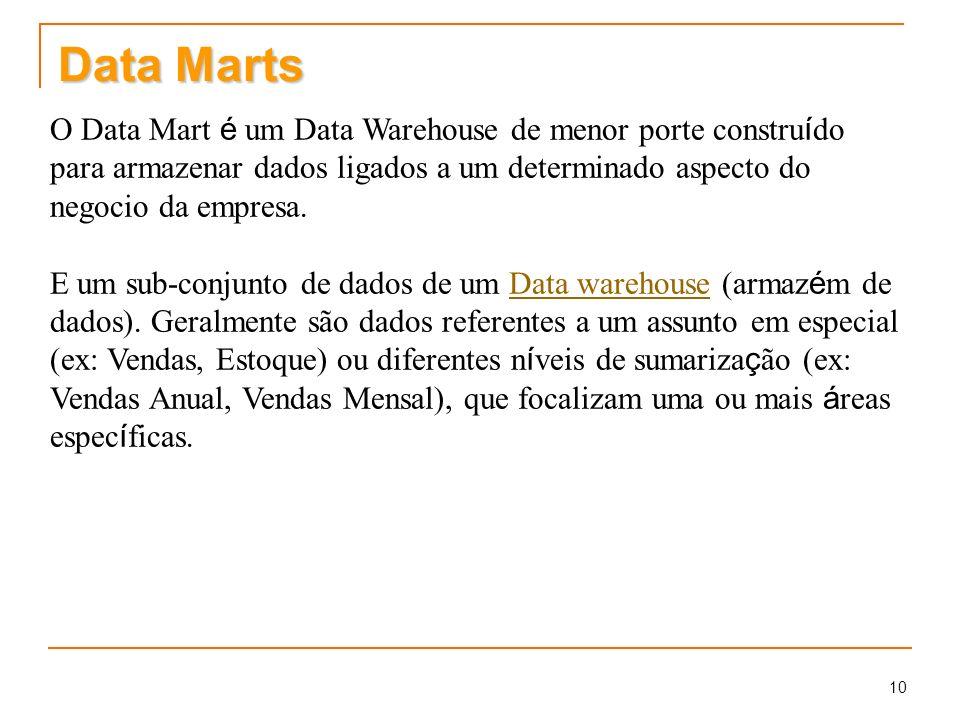 10 Data Marts O Data Mart é um Data Warehouse de menor porte constru í do para armazenar dados ligados a um determinado aspecto do negocio da empresa.