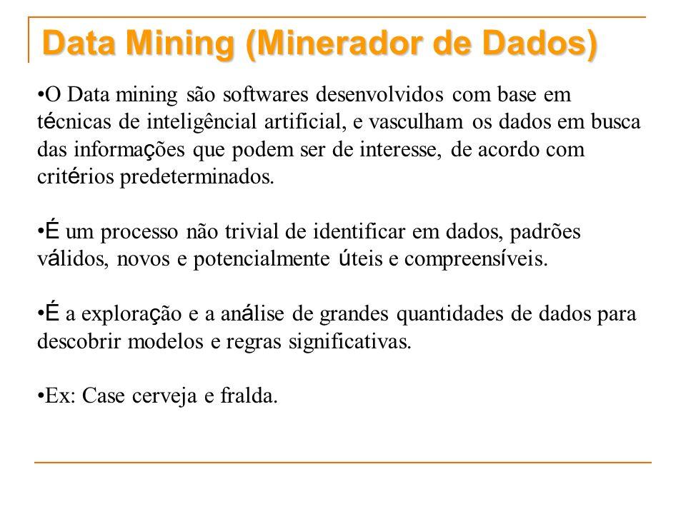 Data Mining (Minerador de Dados) O Data mining são softwares desenvolvidos com base em t é cnicas de inteligêncial artificial, e vasculham os dados em busca das informa ç ões que podem ser de interesse, de acordo com crit é rios predeterminados.