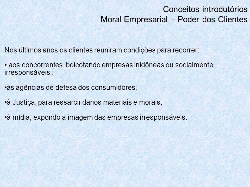 Conceitos introdutórios Moral Empresarial – Poder dos Clientes Nos últimos anos os clientes reuniram condições para recorrer: aos concorrentes, boicot