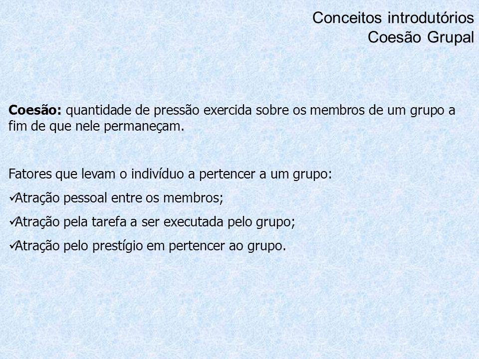 Conceitos introdutórios Coesão Grupal Coesão: quantidade de pressão exercida sobre os membros de um grupo a fim de que nele permaneçam. Fatores que le