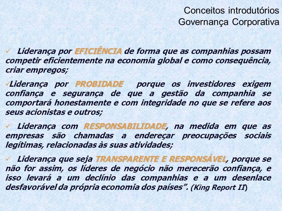 Conceitos introdutórios Governança Corporativa EFICIÊNCIA Liderança por EFICIÊNCIA de forma que as companhias possam competir eficientemente na econom