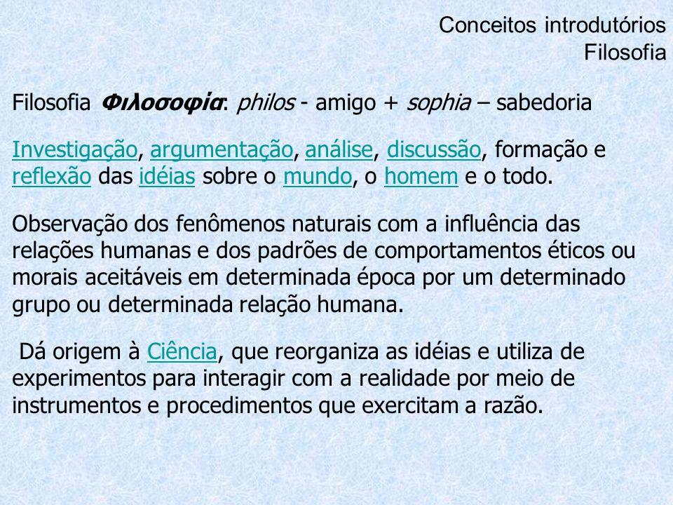Conceitos introdutórios Filosofia Filosofia Φιλοσοφία: philos - amigo + sophia – sabedoria InvestigaçãoInvestigação, argumentação, análise, discussão,