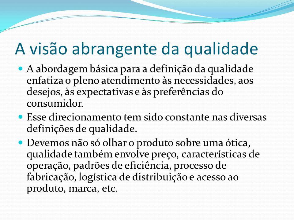 A visão abrangente da qualidade A abordagem básica para a definição da qualidade enfatiza o pleno atendimento às necessidades, aos desejos, às expecta