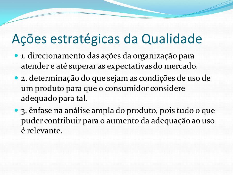 Ações estratégicas da Qualidade 1. direcionamento das ações da organização para atender e até superar as expectativas do mercado. 2. determinação do q