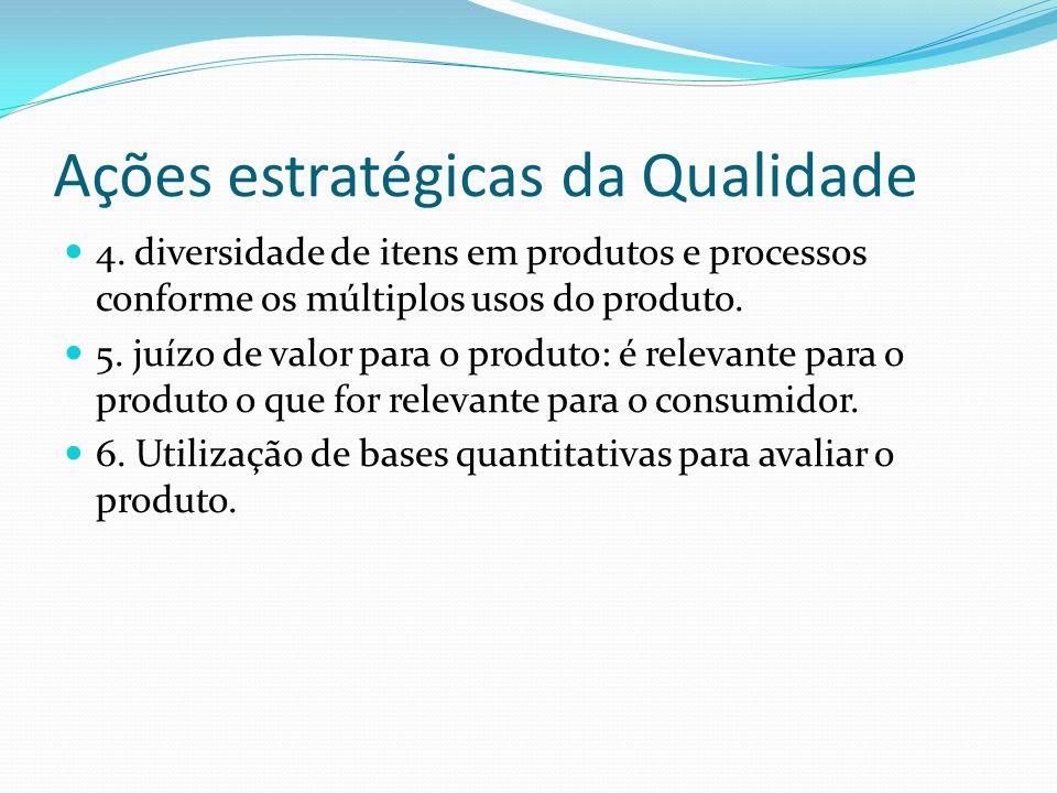 Ações estratégicas da Qualidade 4. diversidade de itens em produtos e processos conforme os múltiplos usos do produto. 5. juízo de valor para o produt