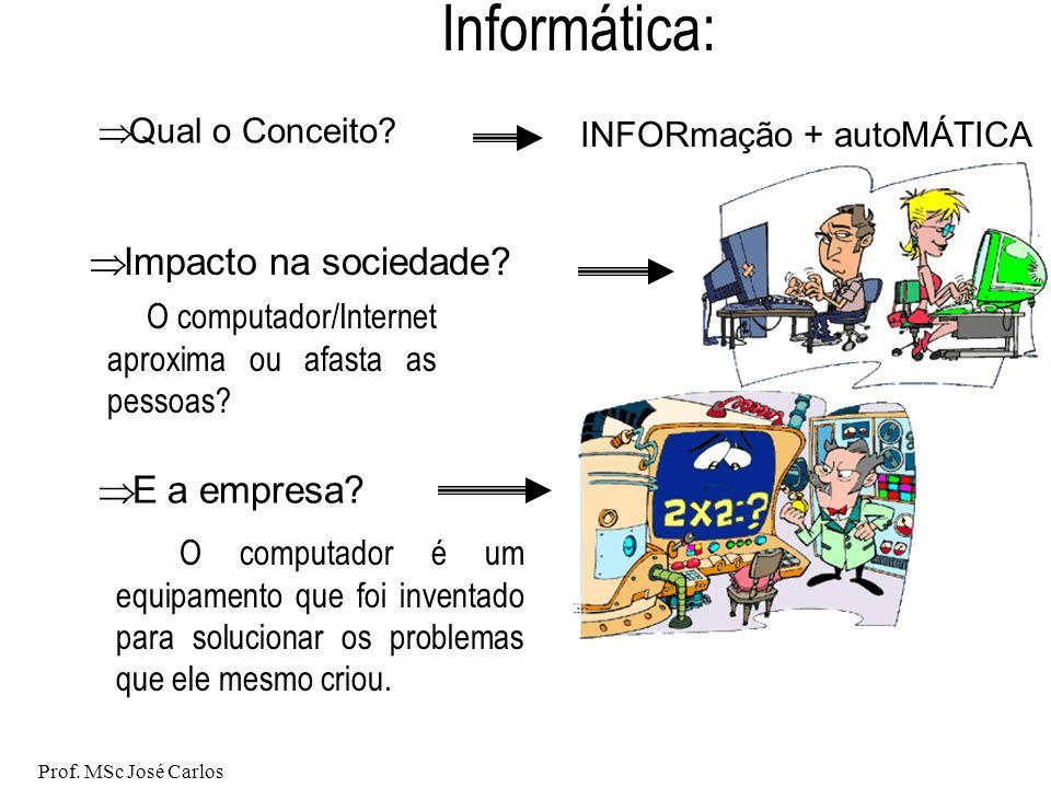Prof.MSc José Carlos Informática: E a empresa. Qual o Conceito.