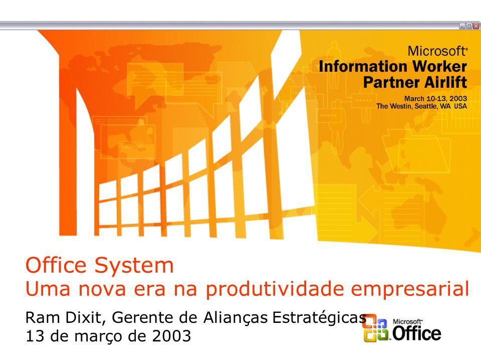 Office System Uma nova era na produtividade empresarial Ram Dixit, Gerente de Alianças Estratégicas 13 de março de 2003
