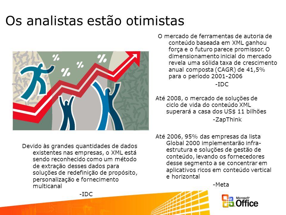 Os analistas estão otimistas Devido às grandes quantidades de dados existentes nas empresas, o XML está sendo reconhecido como um método de extração d